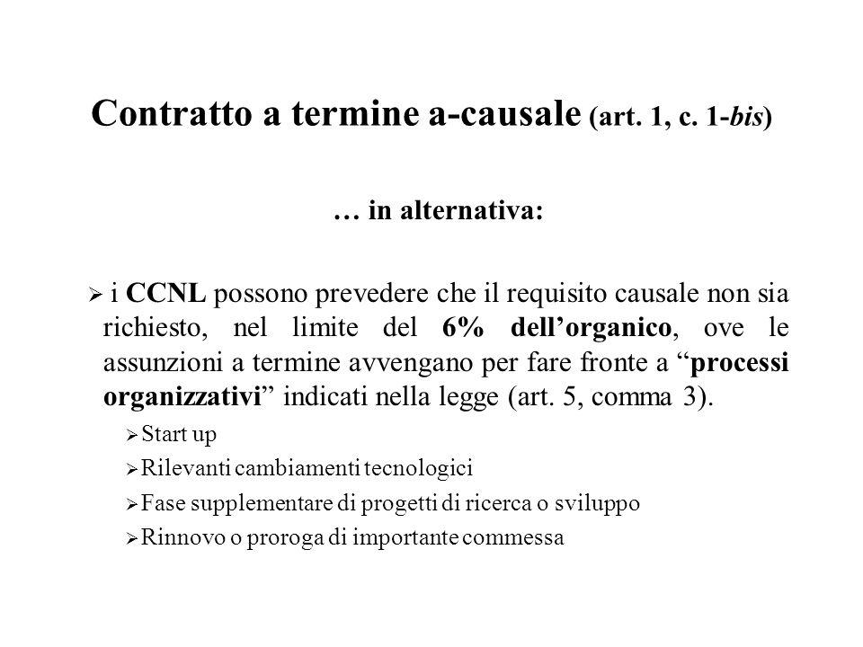 Contratto a termine a-causale (art. 1, c. 1-bis) … in alternativa: i CCNL possono prevedere che il requisito causale non sia richiesto, nel limite del