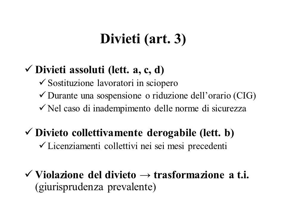 Divieti (art. 3) Divieti assoluti (lett. a, c, d) Sostituzione lavoratori in sciopero Durante una sospensione o riduzione dellorario (CIG) Nel caso di