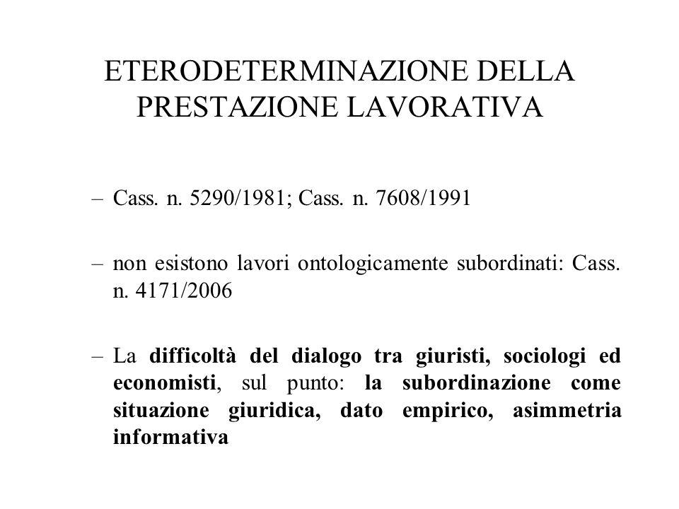 ETERODETERMINAZIONE DELLA PRESTAZIONE LAVORATIVA –Cass. n. 5290/1981; Cass. n. 7608/1991 –non esistono lavori ontologicamente subordinati: Cass. n. 41