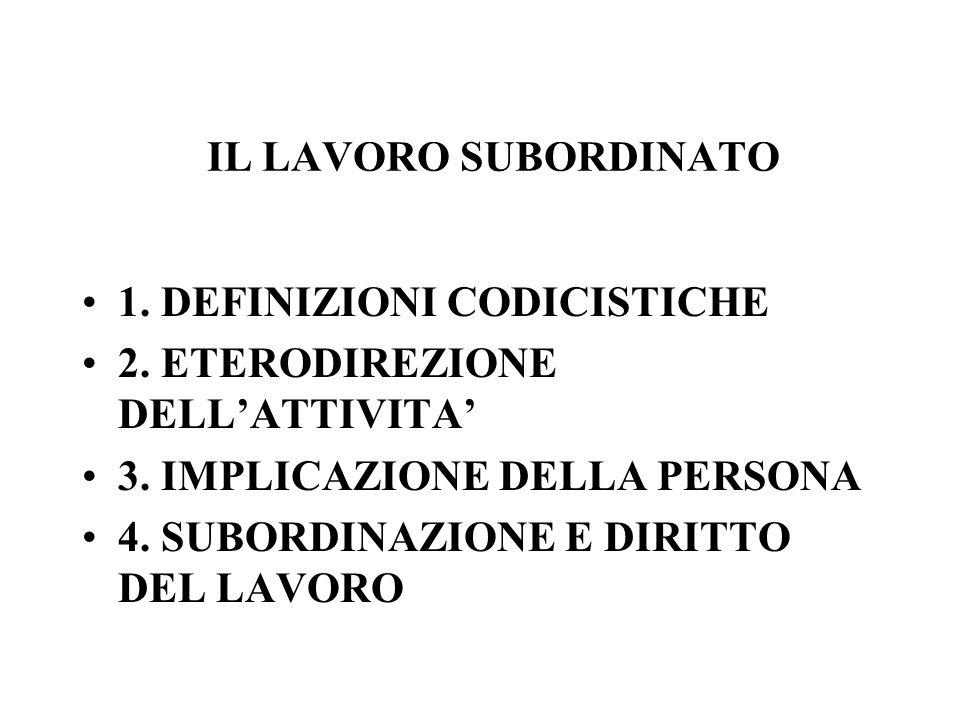 IL LAVORO SUBORDINATO 1. DEFINIZIONI CODICISTICHE 2. ETERODIREZIONE DELLATTIVITA 3. IMPLICAZIONE DELLA PERSONA 4. SUBORDINAZIONE E DIRITTO DEL LAVORO
