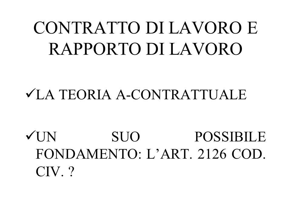 CONTRATTO DI LAVORO E RAPPORTO DI LAVORO LA TEORIA A-CONTRATTUALE UN SUO POSSIBILE FONDAMENTO: LART. 2126 COD. CIV. ?