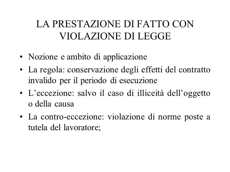 LA PRESTAZIONE DI FATTO CON VIOLAZIONE DI LEGGE Nozione e ambito di applicazione La regola: conservazione degli effetti del contratto invalido per il