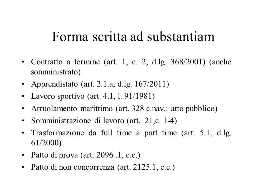 Forma scritta ad substantiam Contratto a termine (art. 1, c. 2, d.lg. 368/2001) (anche somministrato) Apprendistato (art. 2.1.a, d.lg. 167/2011) Lavor