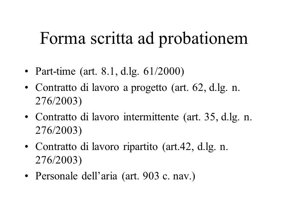 Forma scritta ad probationem Part-time (art. 8.1, d.lg. 61/2000) Contratto di lavoro a progetto (art. 62, d.lg. n. 276/2003) Contratto di lavoro inter