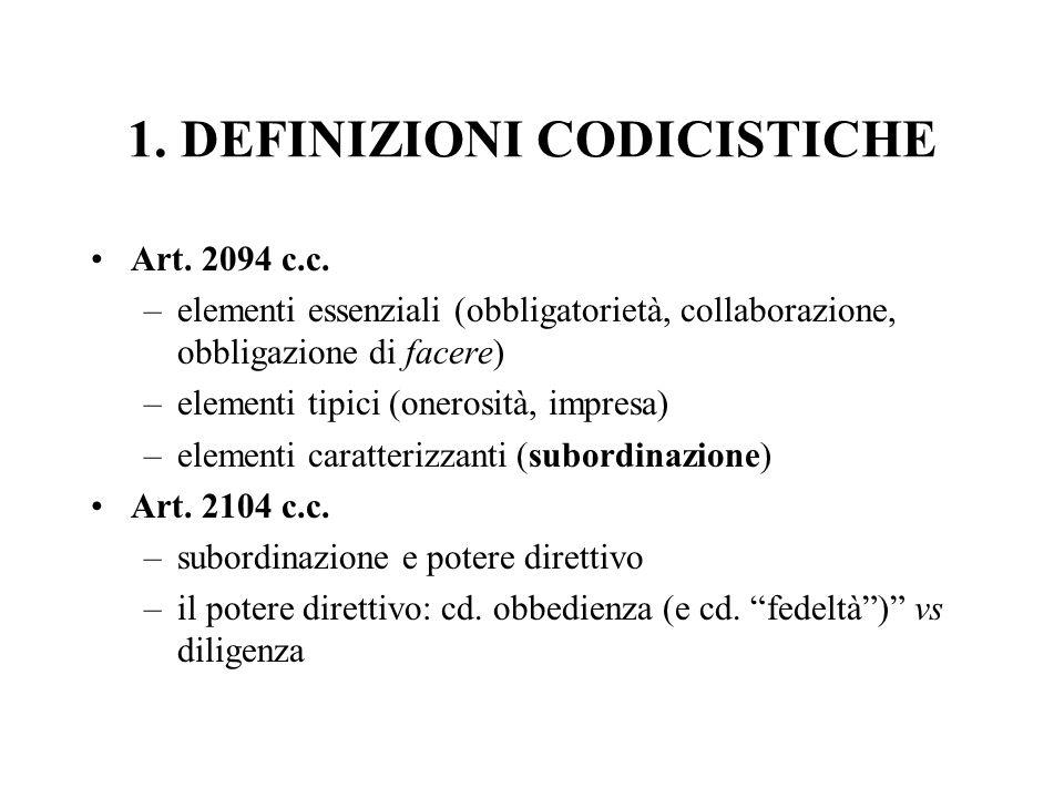 1. DEFINIZIONI CODICISTICHE Art. 2094 c.c. –elementi essenziali (obbligatorietà, collaborazione, obbligazione di facere) –elementi tipici (onerosità,