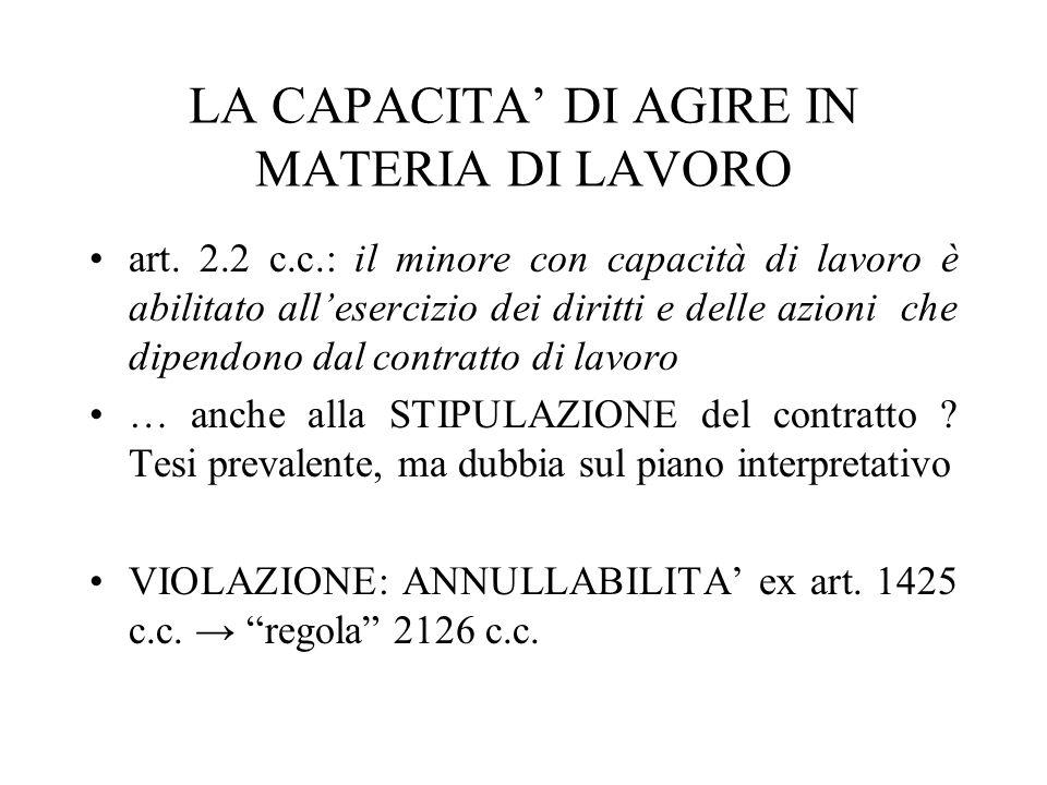 LA CAPACITA DI AGIRE IN MATERIA DI LAVORO art. 2.2 c.c.: il minore con capacità di lavoro è abilitato allesercizio dei diritti e delle azioni che dipe