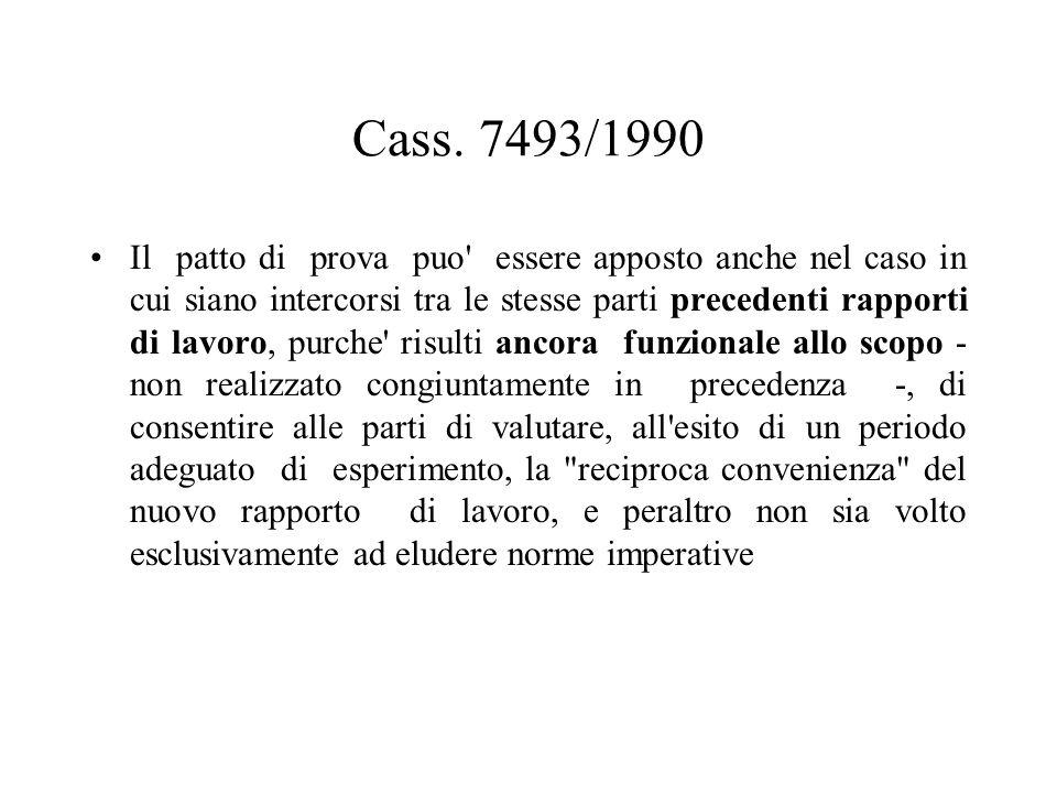 Cass. 7493/1990 Il patto di prova puo' essere apposto anche nel caso in cui siano intercorsi tra le stesse parti precedenti rapporti di lavoro, purche