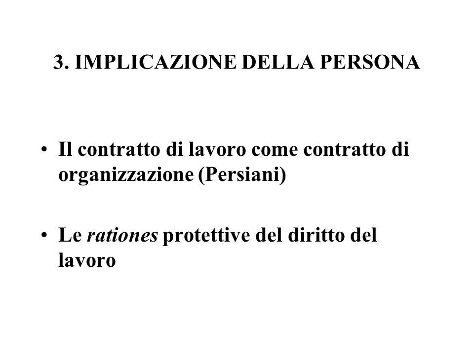 3. IMPLICAZIONE DELLA PERSONA Il contratto di lavoro come contratto di organizzazione (Persiani) Le rationes protettive del diritto del lavoro