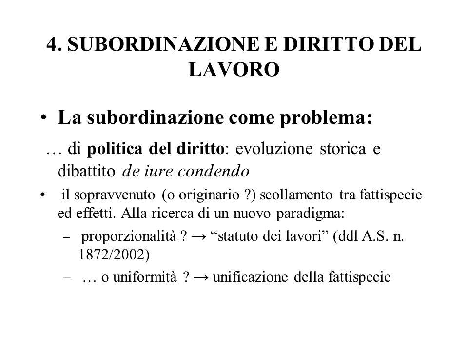 4. SUBORDINAZIONE E DIRITTO DEL LAVORO La subordinazione come problema: … di politica del diritto: evoluzione storica e dibattito de iure condendo il