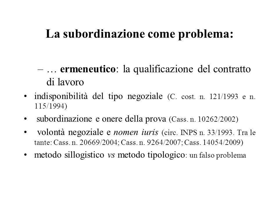 La subordinazione come problema: –… ermeneutico: la qualificazione del contratto di lavoro indisponibilità del tipo negoziale (C. cost. n. 121/1993 e