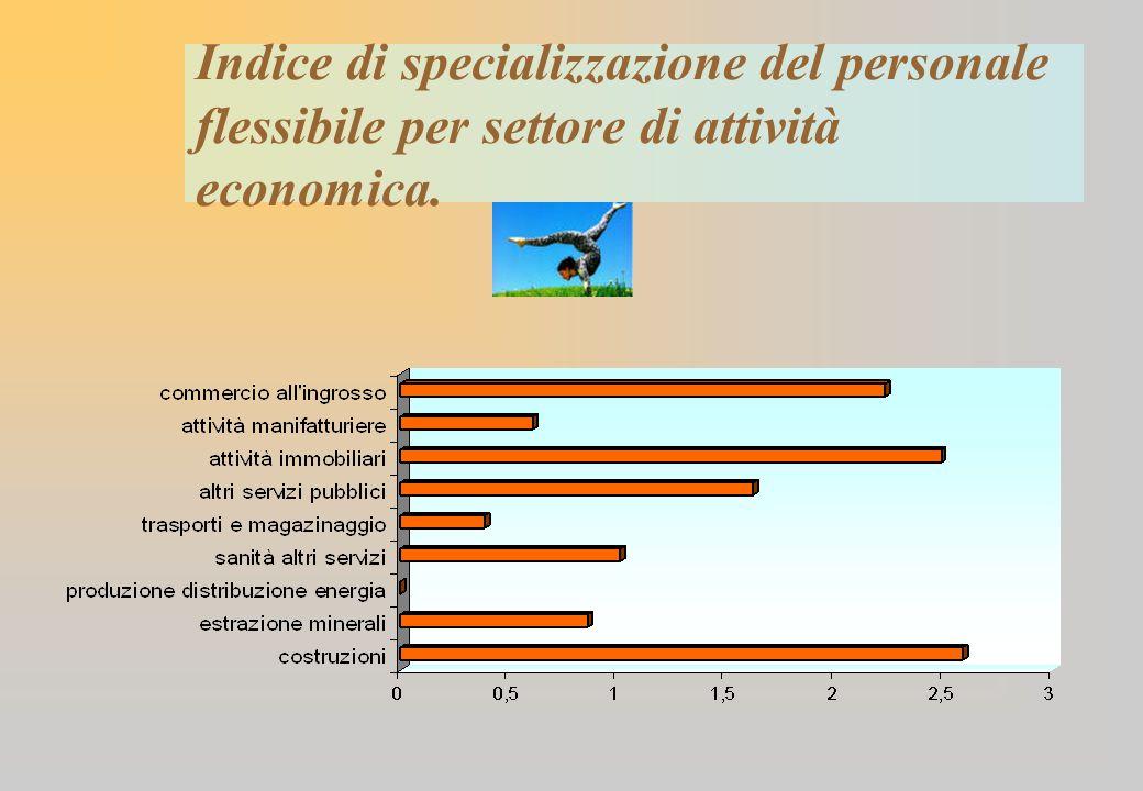 Indice di specializzazione del personale flessibile per settore di attività economica.