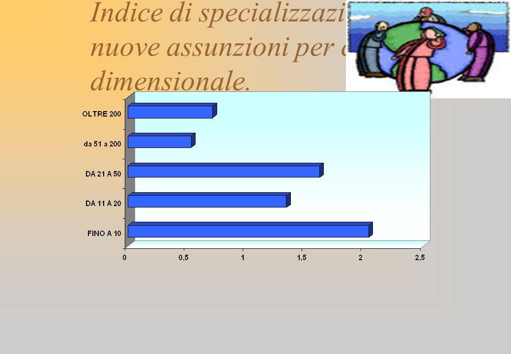 Indice di specializzazione delle nuove assunzioni per classe dimensionale.