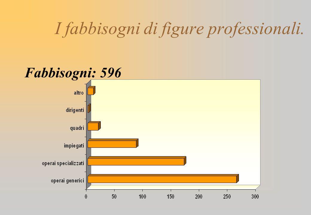 I fabbisogni di figure professionali. Fabbisogni: 596