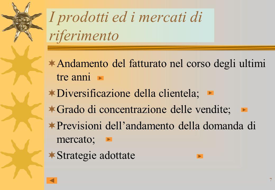7 I prodotti ed i mercati di riferimento Andamento del fatturato nel corso degli ultimi tre anni Diversificazione della clientela; Grado di concentrazione delle vendite; Previsioni dellandamento della domanda di mercato; Strategie adottate