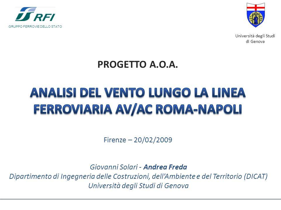 Progetto AOA – Analisi del vento lungo la linea AV/AC Roma-Napoli – Firenze 20/02/2009 B7 – Estrazione della velocità media lungo la linea Metodo 2– BOLAM +WINDS – Tutti gli eventi selezionati