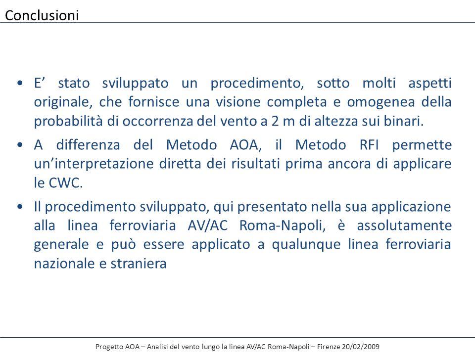 Progetto AOA – Analisi del vento lungo la linea AV/AC Roma-Napoli – Firenze 20/02/2009 E stato sviluppato un procedimento, sotto molti aspetti origina