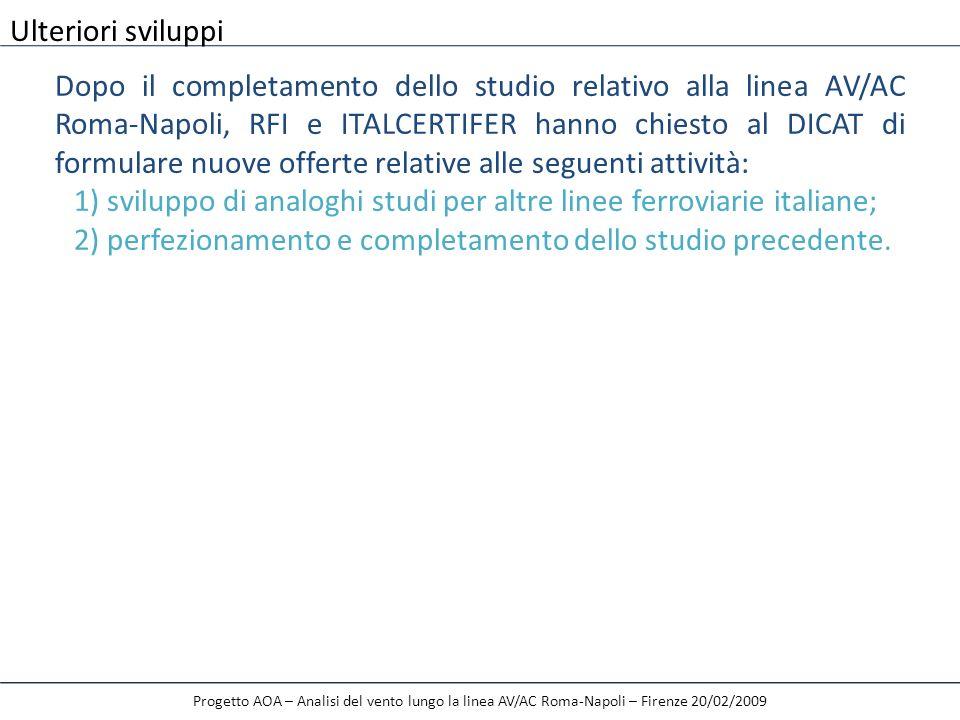 Progetto AOA – Analisi del vento lungo la linea AV/AC Roma-Napoli – Firenze 20/02/2009 Ulteriori sviluppi Dopo il completamento dello studio relativo