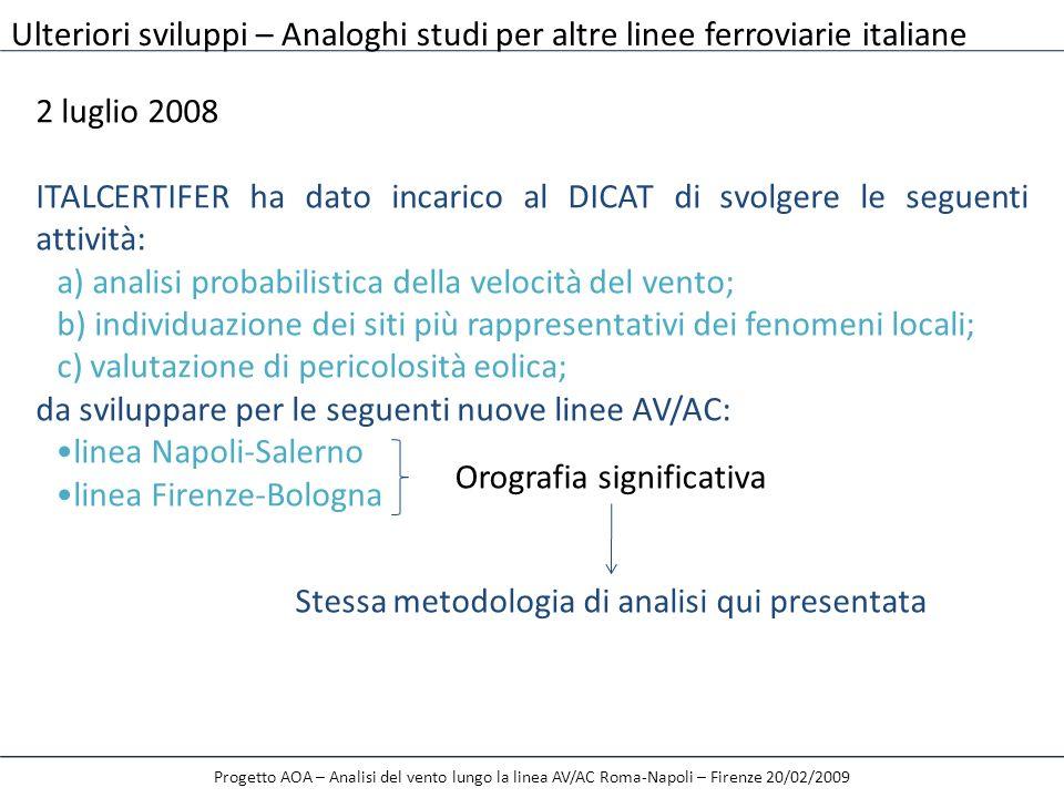 2 luglio 2008 ITALCERTIFER ha dato incarico al DICAT di svolgere le seguenti attività: a) analisi probabilistica della velocità del vento; b) individu