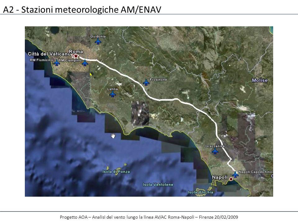 A2 - Stazioni meteorologiche AM/ENAV Progetto AOA – Analisi del vento lungo la linea AV/AC Roma-Napoli – Firenze 20/02/2009