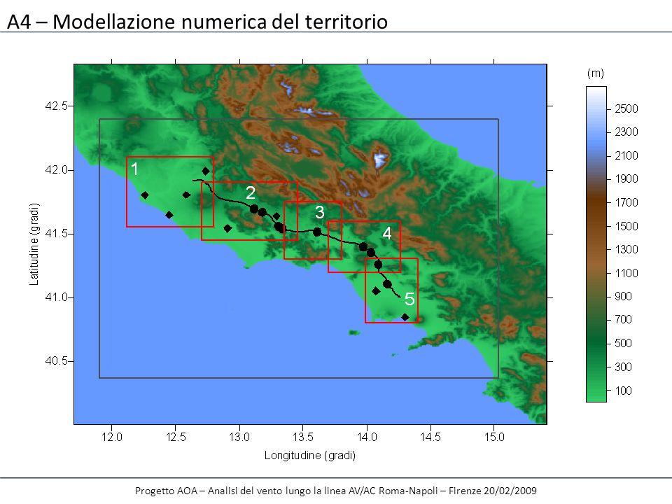 A4 – Modellazione numerica del territorio Progetto AOA – Analisi del vento lungo la linea AV/AC Roma-Napoli – Firenze 20/02/2009