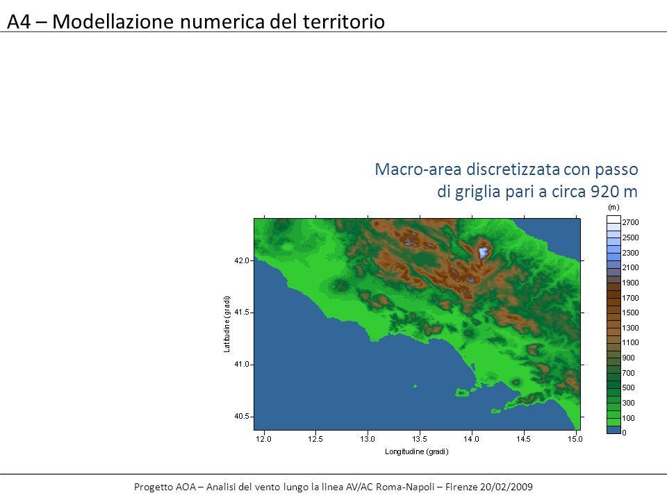 A4 – Modellazione numerica del territorio Progetto AOA – Analisi del vento lungo la linea AV/AC Roma-Napoli – Firenze 20/02/2009 Macro-area discretizz
