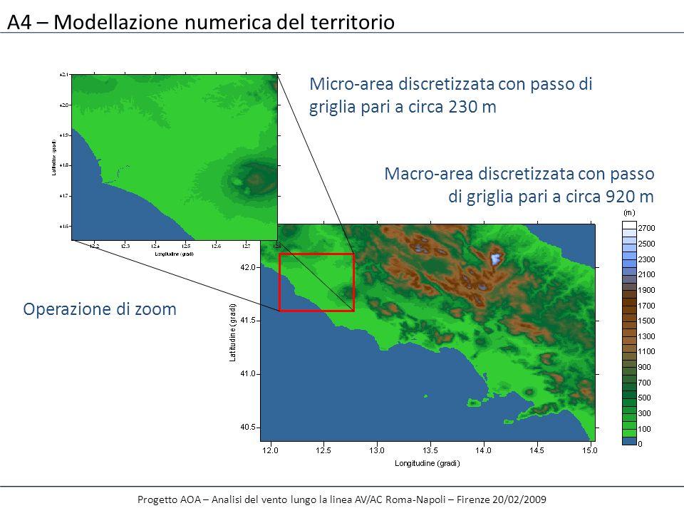 A4 – Modellazione numerica del territorio Progetto AOA – Analisi del vento lungo la linea AV/AC Roma-Napoli – Firenze 20/02/2009 Operazione di zoom Ma