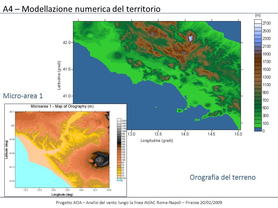 A4 – Modellazione numerica del territorio Progetto AOA – Analisi del vento lungo la linea AV/AC Roma-Napoli – Firenze 20/02/2009 Orografia del terreno