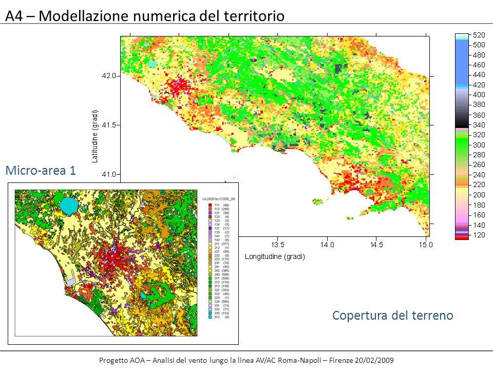 A4 – Modellazione numerica del territorio Progetto AOA – Analisi del vento lungo la linea AV/AC Roma-Napoli – Firenze 20/02/2009 Copertura del terreno