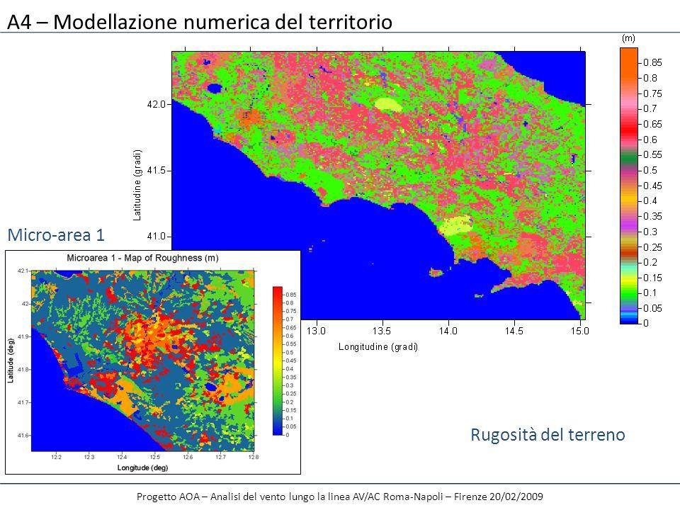 A4 – Modellazione numerica del territorio Progetto AOA – Analisi del vento lungo la linea AV/AC Roma-Napoli – Firenze 20/02/2009 Rugosità del terreno