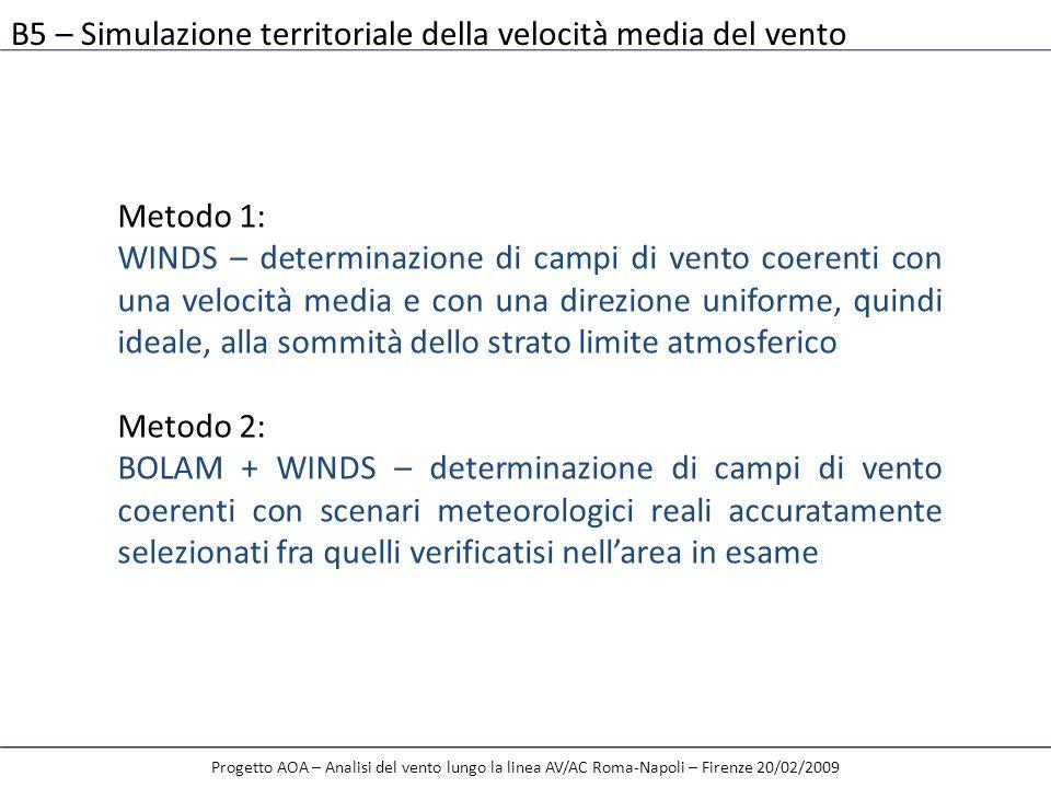 B5 – Simulazione territoriale della velocità media del vento Progetto AOA – Analisi del vento lungo la linea AV/AC Roma-Napoli – Firenze 20/02/2009 Me