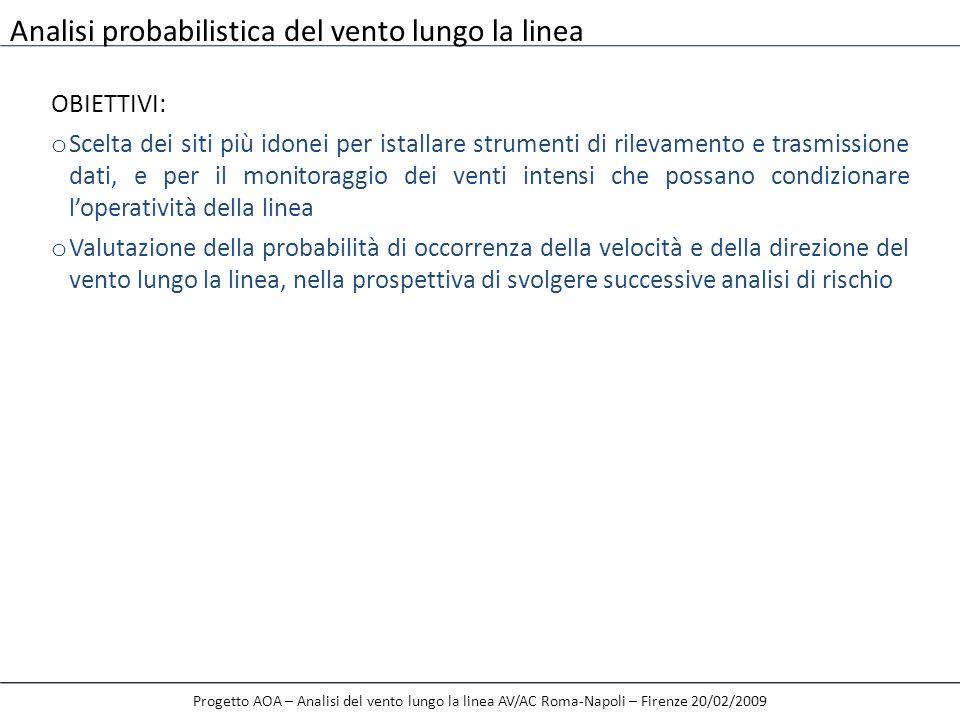 Progetto AOA – Analisi del vento lungo la linea AV/AC Roma-Napoli – Firenze 20/02/2009 2 luglio 2008 ITALCERTIFER ha dato incarico al DICAT di svolgere le seguenti attività: a) Perfezionamento delle analisi probabilistiche della velocità del vento in corrispondenza della zona Tora-Piccilli nel tratto Mignao-Capua; b) Perfezionamento delle analisi predittive a breve termine della velocità del vento lungo la linea AV/AC Roma-Napoli Ulteriori sviluppi – Perfezionamento/completamento del presente studio