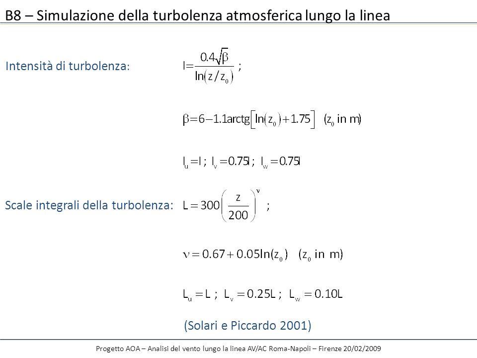 B8 – Simulazione della turbolenza atmosferica lungo la linea Intensità di turbolenza : Scale integrali della turbolenza: (Solari e Piccardo 2001)