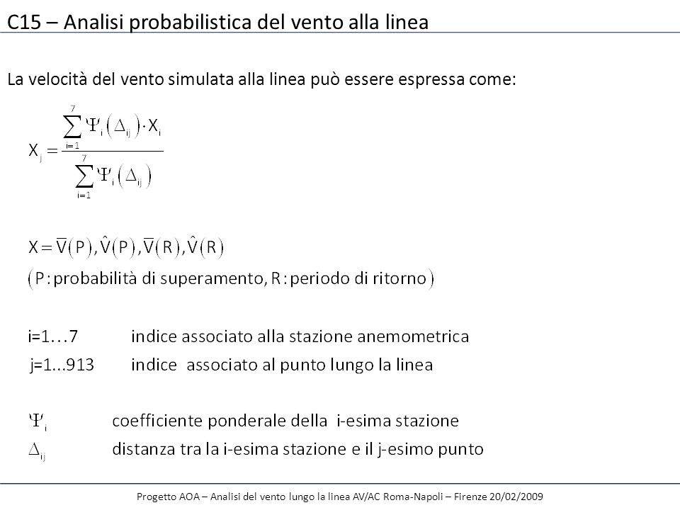 C15 – Analisi probabilistica del vento alla linea La velocità del vento simulata alla linea può essere espressa come: