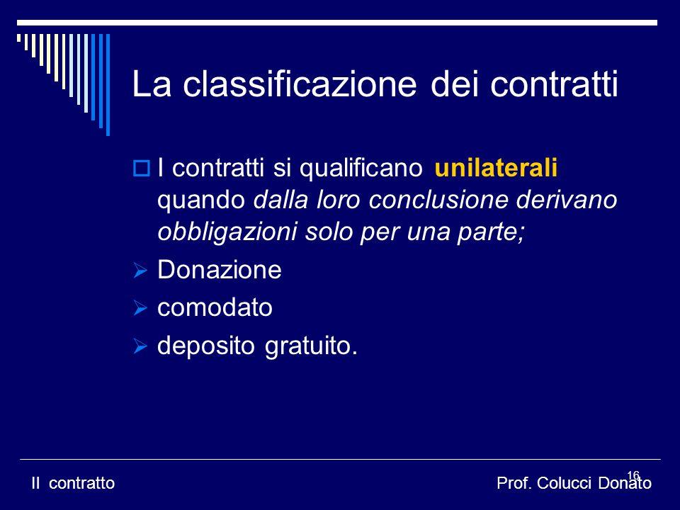 I contratti si qualificano unilaterali quando dalla loro conclusione derivano obbligazioni solo per una parte; Donazione comodato deposito gratuito.