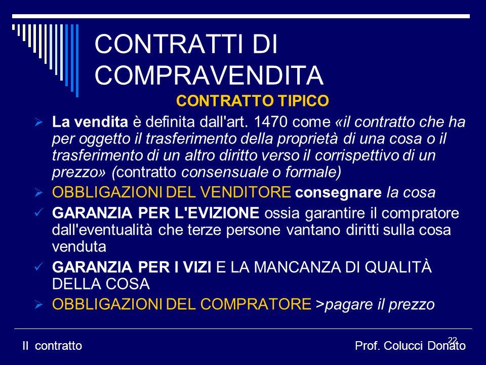 CONTRATTI DI COMPRAVENDITA CONTRATTO TIPICO La vendita è definita dall art.