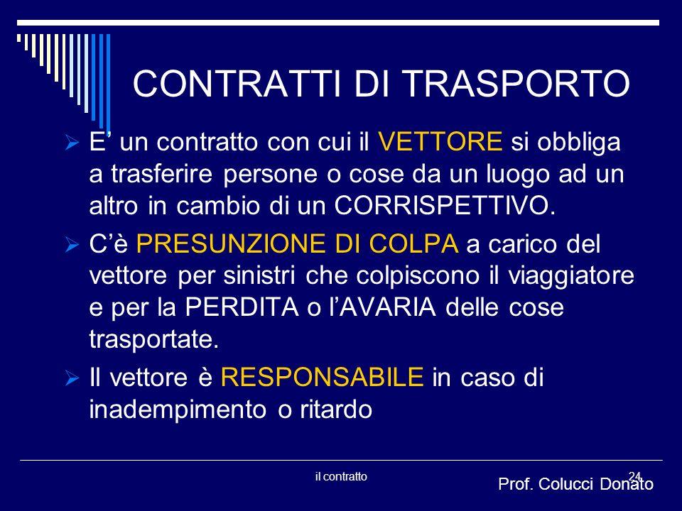 CONTRATTI DI TRASPORTO E un contratto con cui il VETTORE si obbliga a trasferire persone o cose da un luogo ad un altro in cambio di un CORRISPETTIVO.