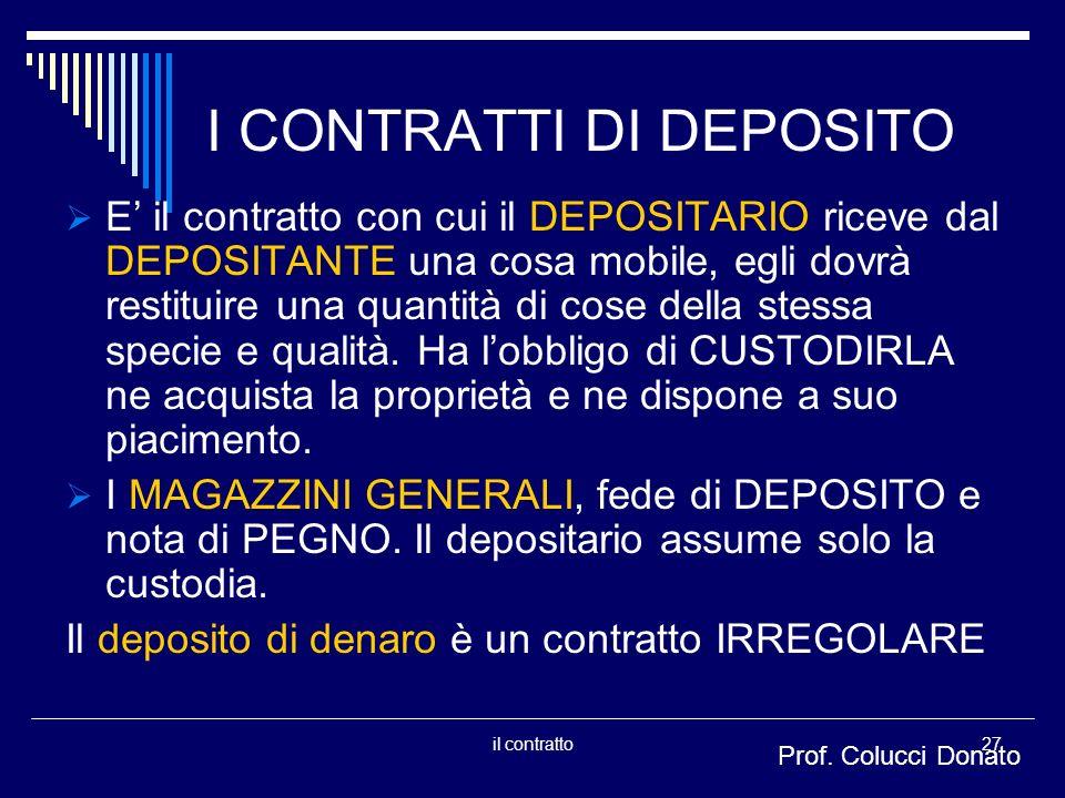 I CONTRATTI DI DEPOSITO E il contratto con cui il DEPOSITARIO riceve dal DEPOSITANTE una cosa mobile, egli dovrà restituire una quantità di cose della