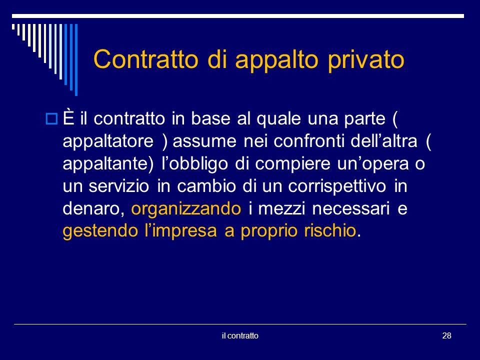 Contratto di appalto privato È il contratto in base al quale una parte ( appaltatore ) assume nei confronti dellaltra ( appaltante) lobbligo di compie