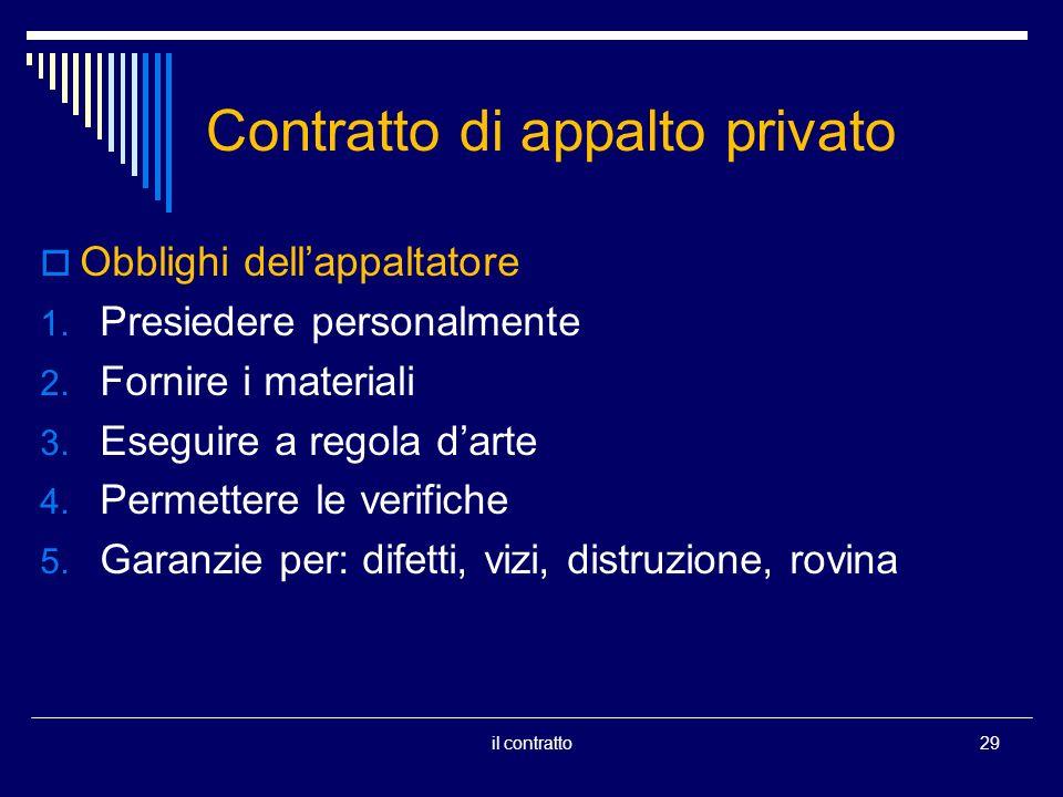 Contratto di appalto privato Obblighi dellappaltatore 1.