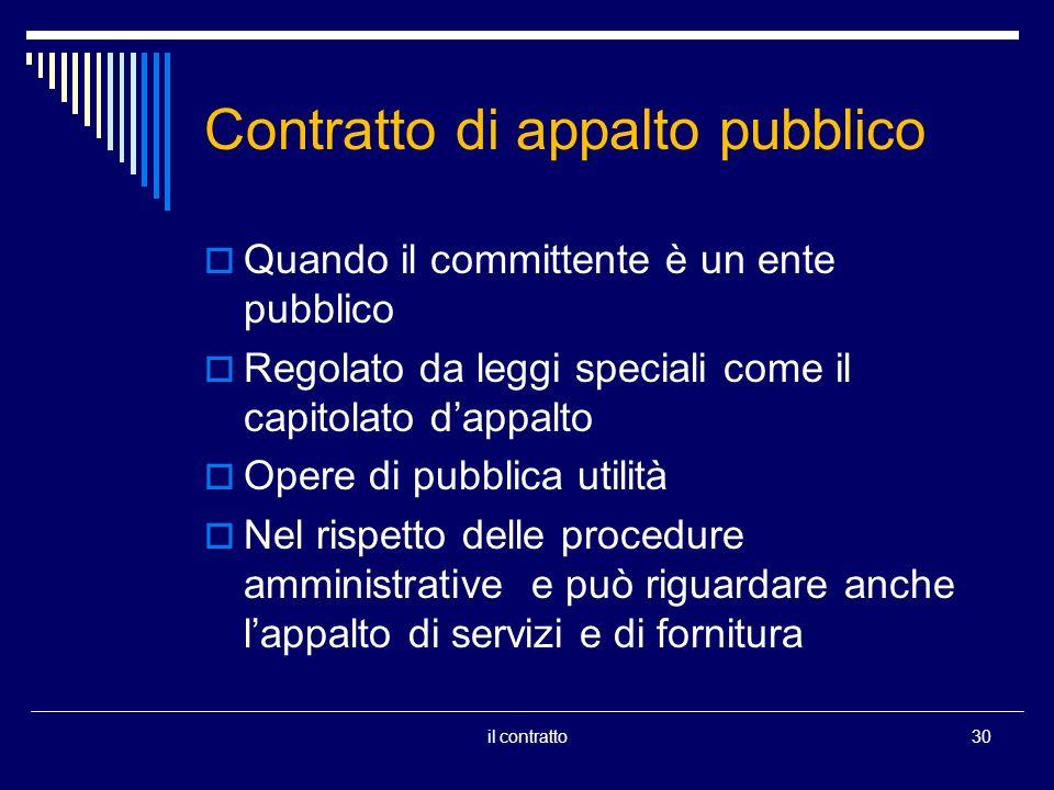 Contratto di appalto pubblico Quando il committente è un ente pubblico Regolato da leggi speciali come il capitolato dappalto Opere di pubblica utilità Nel rispetto delle procedure amministrative e può riguardare anche lappalto di servizi e di fornitura 30il contratto