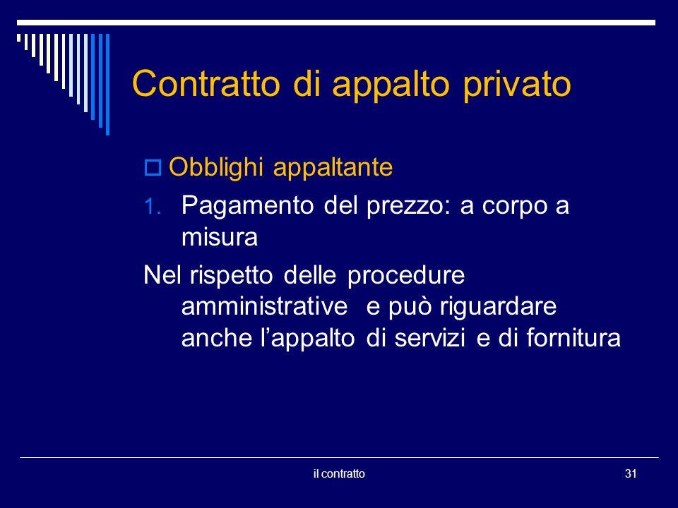 Contratto di appalto privato Obblighi appaltante 1. Pagamento del prezzo: a corpo a misura Nel rispetto delle procedure amministrative e può riguardar