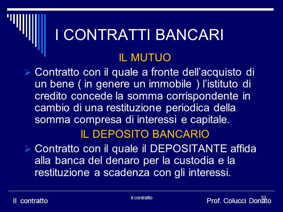 I CONTRATTI BANCARI IL MUTUO Contratto con il quale a fronte dellacquisto di un bene ( in genere un immobile ) listituto di credito concede la somma c