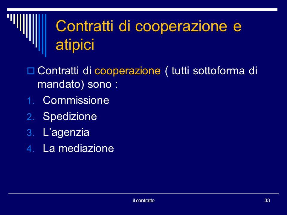 Contratti di cooperazione e atipici Contratti di cooperazione ( tutti sottoforma di mandato) sono : 1. Commissione 2. Spedizione 3. Lagenzia 4. La med