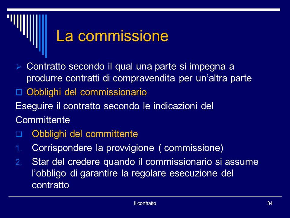 La commissione Contratto secondo il qual una parte si impegna a produrre contratti di compravendita per unaltra parte Obblighi del commissionario Eseguire il contratto secondo le indicazioni del Committente Obblighi del committente 1.
