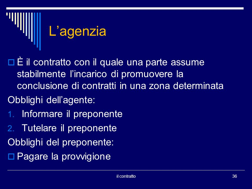 Lagenzia È il contratto con il quale una parte assume stabilmente lincarico di promuovere la conclusione di contratti in una zona determinata Obblighi dellagente: 1.