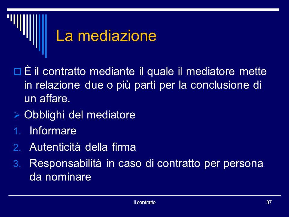 La mediazione È il contratto mediante il quale il mediatore mette in relazione due o più parti per la conclusione di un affare. Obblighi del mediatore