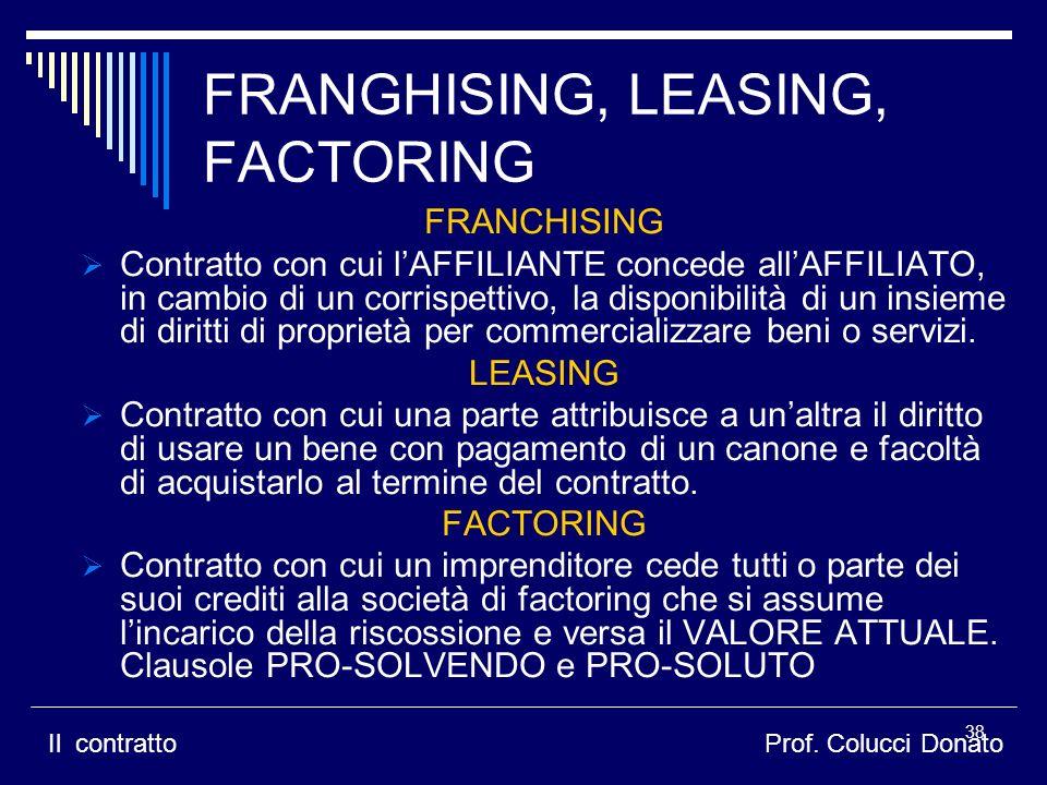 FRANGHISING, LEASING, FACTORING FRANCHISING Contratto con cui lAFFILIANTE concede allAFFILIATO, in cambio di un corrispettivo, la disponibilità di un insieme di diritti di proprietà per commercializzare beni o servizi.