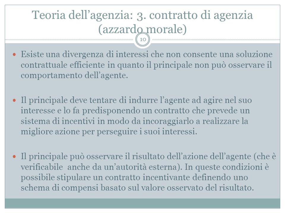 Teoria dellagenzia: 3. contratto di agenzia (azzardo morale) Esiste una divergenza di interessi che non consente una soluzione contrattuale efficiente