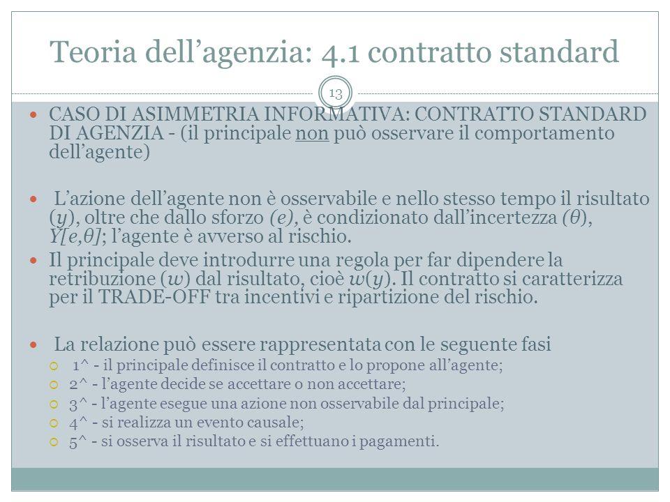 Teoria dellagenzia: 4.1 contratto standard CASO DI ASIMMETRIA INFORMATIVA: CONTRATTO STANDARD DI AGENZIA - (il principale non può osservare il comport