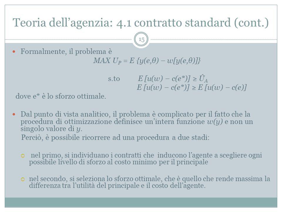 Teoria dellagenzia: 4.1 contratto standard (cont.) Formalmente, il problema è MAX U P = E {y(e,θ) – w[y(e,θ)]} s.to E [u(w) – c(e*)] Û A E [u(w) – c(e
